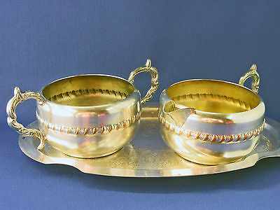 Vintage Silver plated cream sugar & tray by Viking Plate Canada mid 20th C.