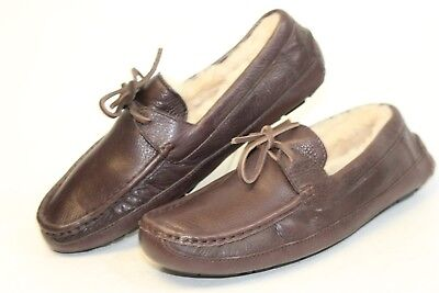 f95e714e678 UGG AUSTRALIA MENS 9 42 Byron NEW Brown Leather Moccasins Slippers Shoes  5161 bl