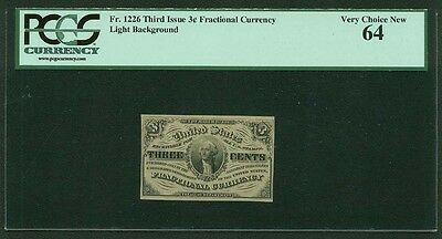 1864-69  3 Cents Fractional Currency Fr-1226 Uncirculated Certified Pcgs New-64