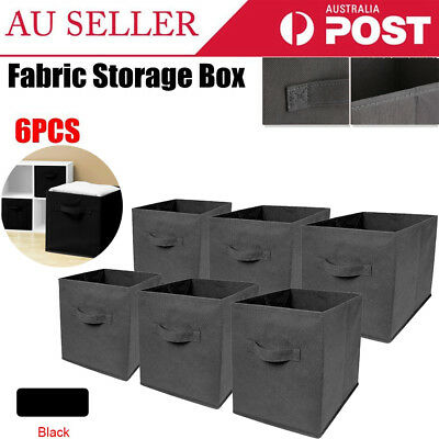 6pc/Set Folding Fabric Cube Storage Collapsible Bins Box Clothes Organizer Cube