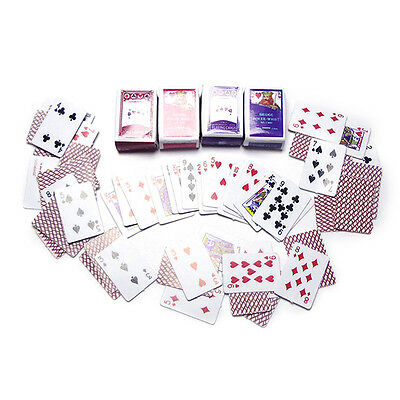 1 Set Mini Poker Cards Playing Game for Dollhouse Miniature 1 / 12 Paper  Gift