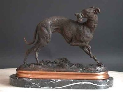 Bronze Greyhound Dog Sculpture Marble Base Signed