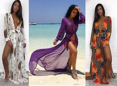 Womens Beach Pool Party Wear Wrap Split Long Maxi Dress Skirt Kimono Chiffon UK