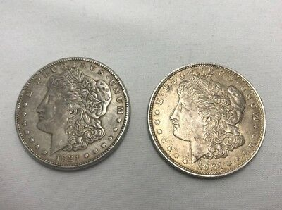 Lot of (2) 1921 Toned Morgan Silver $1 Dollar From Various Mints - Free Shipping