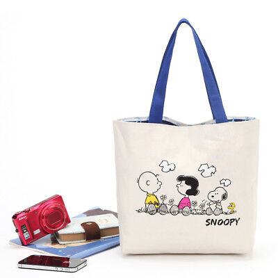 Snoopy Shopping Tote  Shoulder Bag Peanuts Charlie Sally Brown Woodstock Anchor