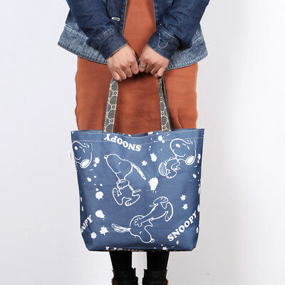 Snoopy Peanuts Shoulder Bag Denim Dancing Eco Shopping Grocery