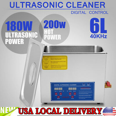 Stainless Steel 6L Liter Industry Heated Ultrasonic Cleaner Heater w/Timer
