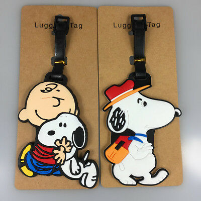 2pc Snoopy Peanuts Charlie Brown Luggage Tag Outing  Hug