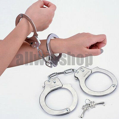 NEW Creative Professional Handcuffs Sliver Steel Police Duty Double Lock Keys FE