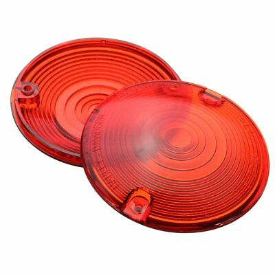 """2pcs Motorcycle Red Turn Signal Lens Lenses Covers 3 1/4"""" for Harley Touring"""