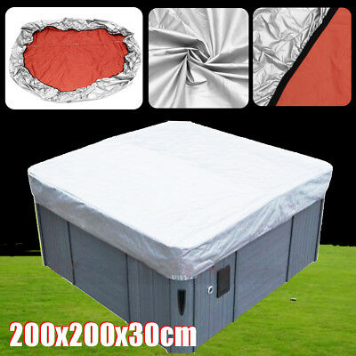 Hot Tub Spa Cover Cap Waterproof Protector Oxford Fabric Silver 200x200x30cm