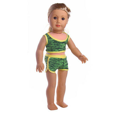 "Swimwear Clothes Sports Suit Outfit for 18"" American Girl My Life Doll Green"