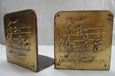 antique ARTS CRAFTS MUSIC NOTES BOOKENDS mission brass plate book end music
