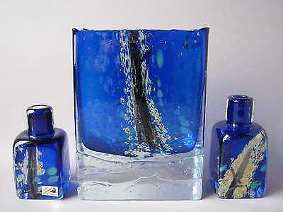 3 x Glas Vase Set Atelier Beranek Skrdlovice Czech Glassworks Hand made Design
