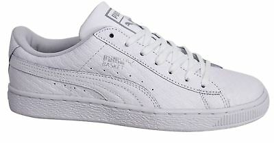 Puma Basket Classic B&W Lace Up White Leather Mens Trainers 363075 01 M14