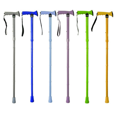 Adjustable Bright Folding Gel Handle Walking Stick Cane Inc Wrist Strap & Clip