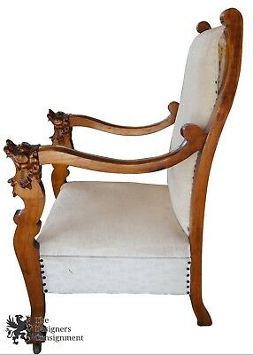 Antique Lion Carved Walnut Gentlemans Throne Chair Upholstered Seat Nailhead