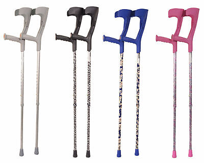 Pair Of Adjustable Compact Stylish Pattern Forearm Crutches Pink Blue Grey Black