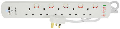 2m 5 Way Mains Extension Lead Switched Sockets Surge Protection Dual USB Ports