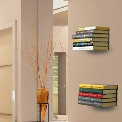 Book Shelf Wall Shelving With Screws L Design Invisible Floating Decoration 2 pc