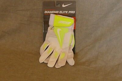 NEW Nike Diamond Elite Pro Baseball Batting Gloves Volt White GB0335 171 Size S
