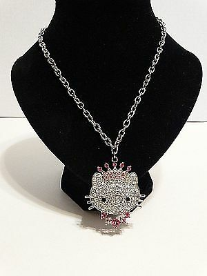 Hello Kitty Necklace Silver Tone Chain Rhinestones Pink Clear Toggle Clasp 19.5""