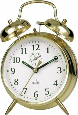 New Acctim Saxon Bell Traditional Keywound Large Double Bell Alarm Clock Brass