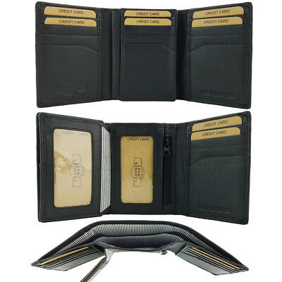 Mens Tri-Fold Leather Wallet Full Grain Cowhide Credit Card Notes Slimline