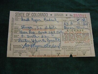 Vintage 1952 Colorado Game & Fish Department 5 Day Fishing License