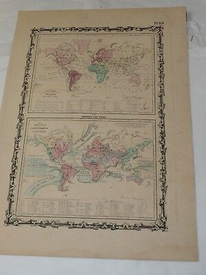 """1862 Johnson Map of the World Ocean Currents Tidal Lines - Hand Colored 14 x 18"""""""
