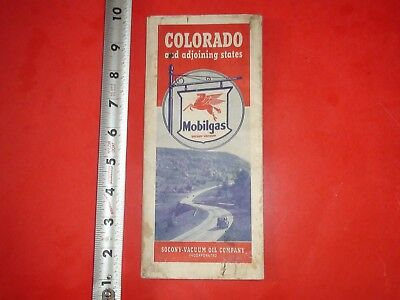 JE753 Vintage 1940 Mobil Oil Gasoline Map of Colorado and Adjoining States