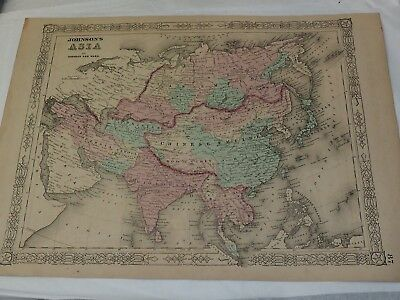 """1863 Johnson's Asian Continent Antique Map Hand Colored 14 x 18"""""""