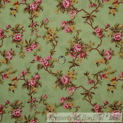 Boneful Fabric Fq Cotton Quilt Vtg Green Leaf Stem Small Pink Rose Flower Yellow
