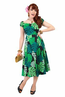 fba0e6cd9507 Collectif Vintage Green Palm Print Dolores Doll Dress Sz 8-22 1950S Flared