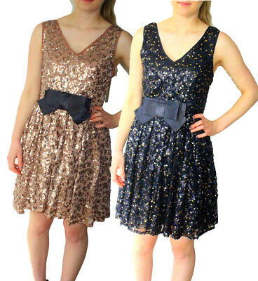 Darling Roxanne Dress S-XL UK 10-16 RRP �99 Sequin Sparkle Bow V Neck Party Xmas