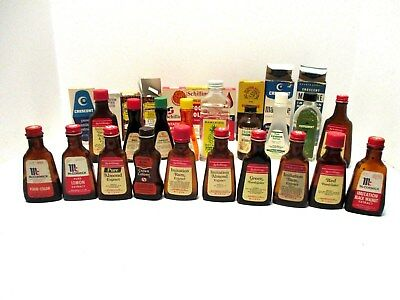 Vintage Lot of 25+ Imitation Flavoring, Food Color, & Extract Bottles
