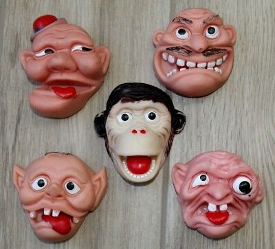 Lot Of 5 Vintage Rubber Face Finger Hand Puppets ~ Creepy Weird Funny Silly Cool