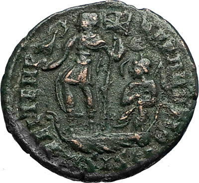 CONSTANS on Ship w Chi-Rho & Phoenix Authentic 348AD ANCIENT Roman Coin i67526