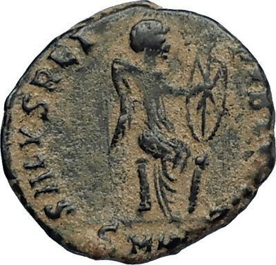 EUDOXIA Arcadius Wife 401AD Authentic Ancient Roman Coin VICTORY CHI-RHO i67527