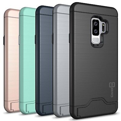 CoverON For Samsung Galaxy S9 Plus Case Slim Kickstand Credit Card Hard Cover