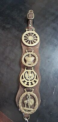Vintage Horse Brasses On Leather Strap With Brass Buckle