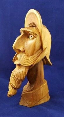 Spectacular Hand Carved Wooden Face With Long Mustache And Beard - Exc. Cond.