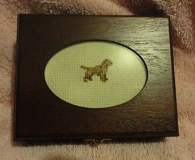 Border Terrier Small Wooden Trinket Box with Cross Stitched Insert LAST ONE!