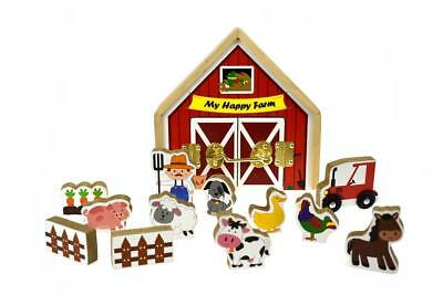 NEW Kaper Kidz Metal Latch Wooden Playset - Farm House with Animals
