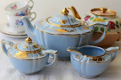 Vintage Sadler Baby Blue Tea Set | Teapot | Milk Jug | Lidded Sugar Bowl | AF