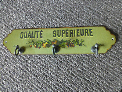 3 Hook key rack metal french provincial country chic green