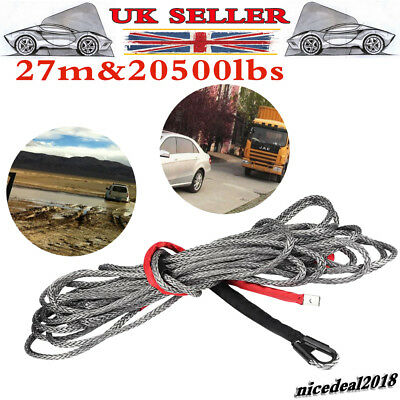 27m 20500 LBS Synthetic Winch Rope Line Cable w/ Protective Sleeve for ATV Truck