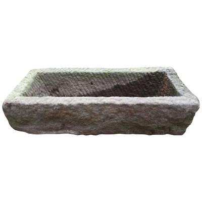 Old Japanese 19th Century Hand carved Rectangular Stone Planter