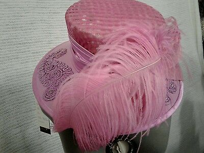 """2 Pc Champagne Italy """"Starlet"""" Pink Kentucky Derby Style Church Hat & Purse"""