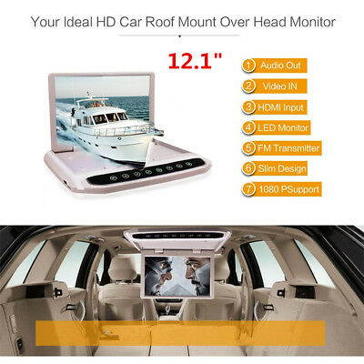 """12.1"""" In Car Roof Overhead Flip Down LED HD Monitor FM MP4 MP5 DVD Video Player"""
